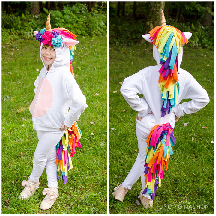 DIY Unicorn Hoodie Costume - Adorable unicorn costume made out of a hoodie! Perfect for little girls. Make it no-sew by using hot glue instead! #unicorn #unicorncostume #easydiycostume