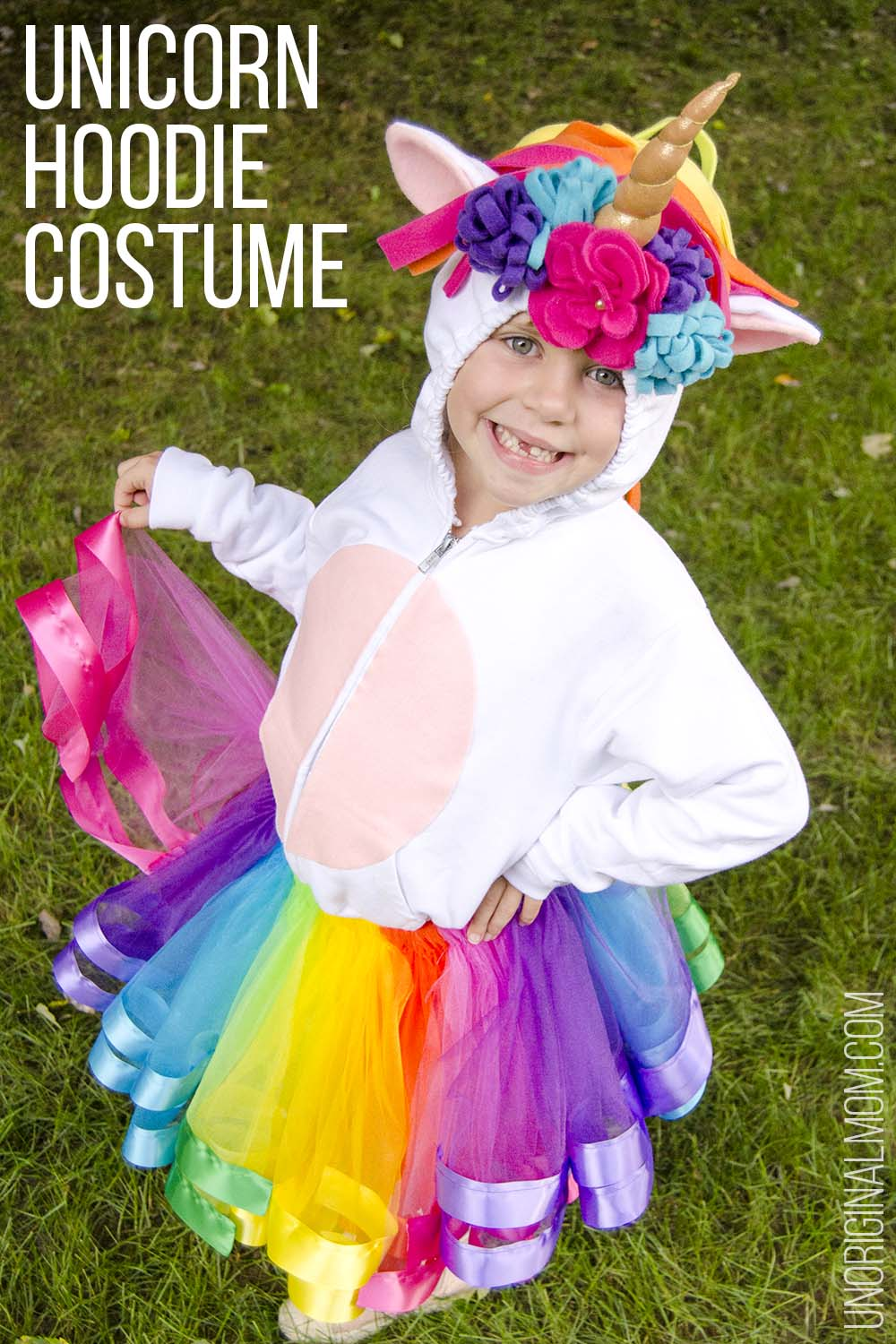 a40670790fd8b DIY Unicorn Hoodie Costume + Rainbow Tutu. Adorable unicorn costume made  out of a hoodie