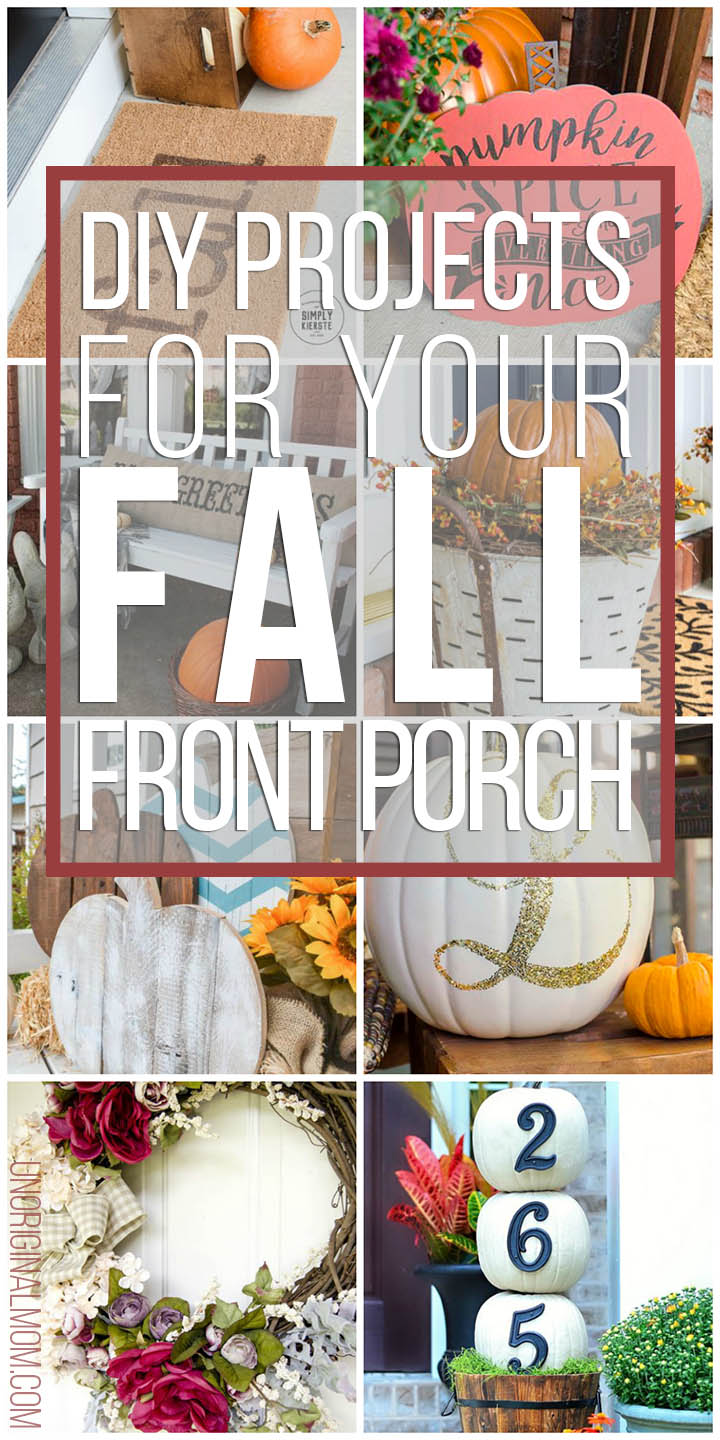 DIY project ideas to make for your fall front porch! Save money AND have the cutest fall front porch on the block. #falldecor #fallfrontporch #falldiys