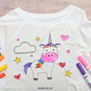 Kid's Unicorn Coloring Shirt with HTV