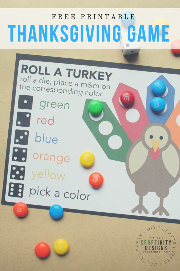 """Roll a Turkey"" - this free thanksgiving game for kids looks fun and easy! #thanksgiving #freeprintable #thanksgivinggame"