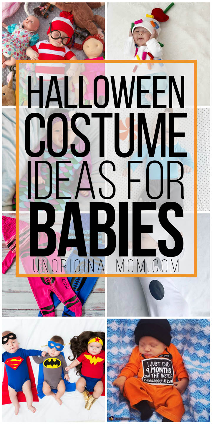 Adorable Halloween costume ideas for newborns and small babies - most of them are easy to DIY with a onesie! #halloween #costumes #babies #newborns #halloweencostumes