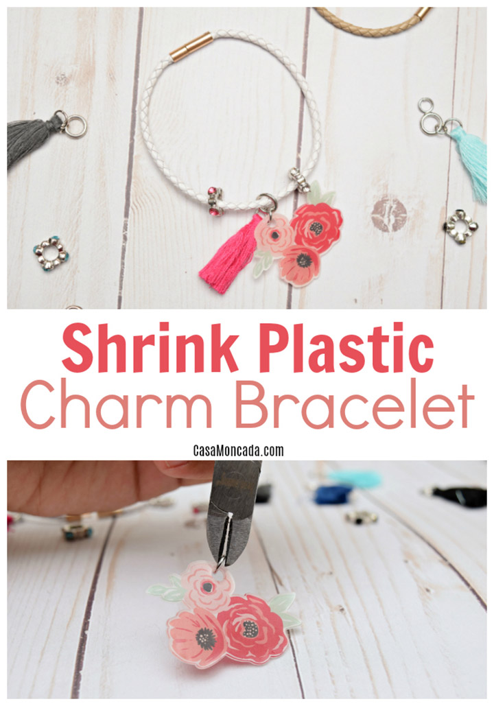 Silhouette Shrink Plastic Tutorial - use shrinky dink sheets to make this adorable floral charm bracelet!