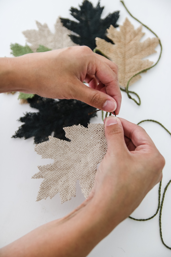 Make an easy DIY burlap leaf garland as simple fall decor - great for minimalist decorating!