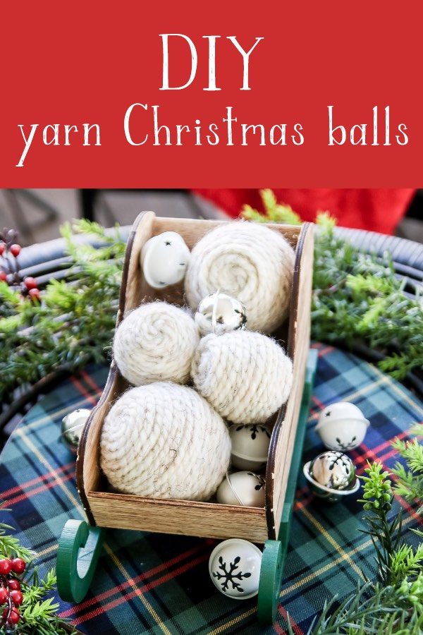 Quick and easy Christmas decor craft project - Christmas vase filler yarn balls! These are a cheap way to add to your Christmas decor on a budget!
