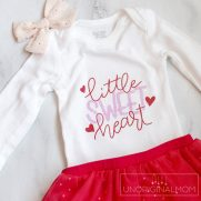 """Little Sweetheart"" Valentine's Onesie Cut File"