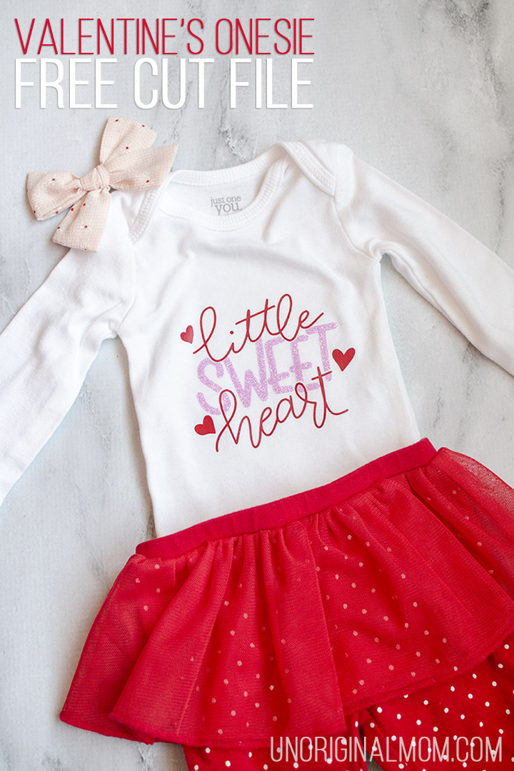 09bbe9fc8 Little Sweet Heart Valentine's Onesie with a free cut file for Silhouette  and Cricut! Use