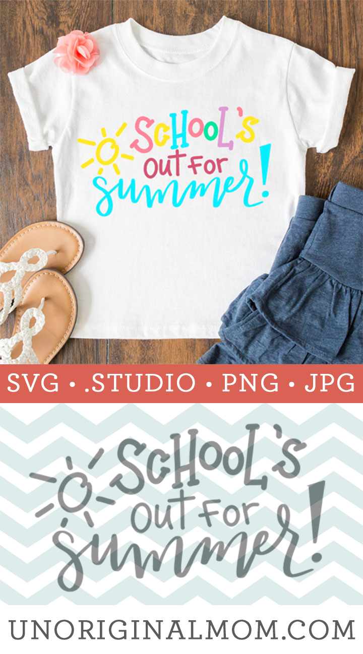 School's Out for Summer Cut File - cute hand lettered design to make an end of the year shirt or teacher gift with your Silhouette or Cricut! | #svg #cutfile #schoolsout #summersvg