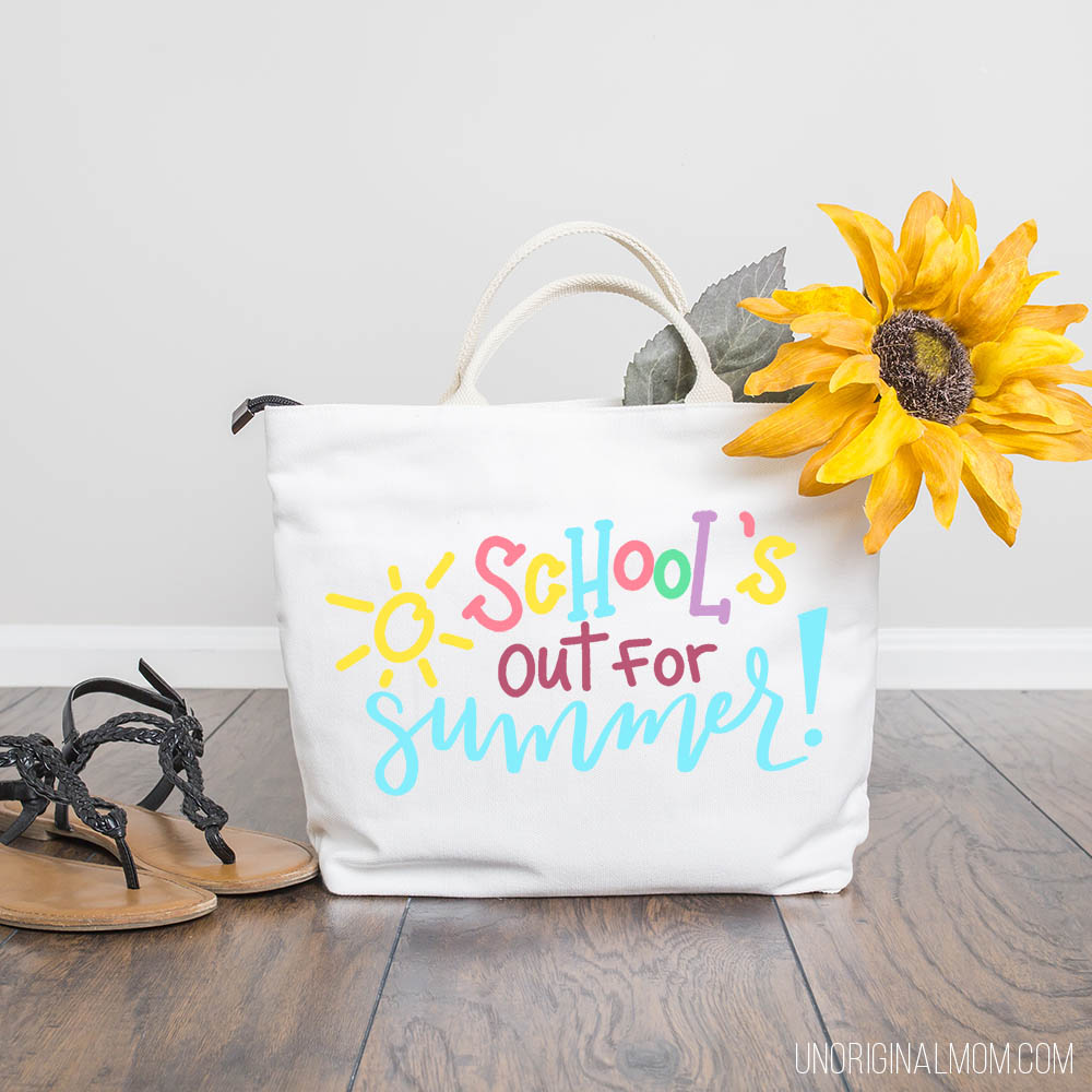 School's out for summer cut file - use this hand lettered SVG to make a great end of the year teacher gift with your Silhouette or Cricut! #teachergift