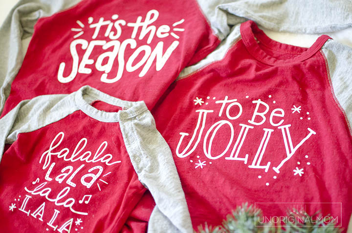DIY sibling Christmas shirts with a free SVG! Adorable hand lettered design for a 3 child family.