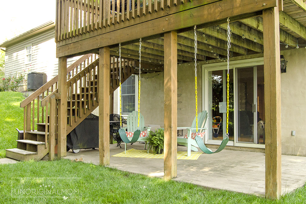 Swings mounted under a deck - great use of space for a walkout basement house | small deck decorating ideas