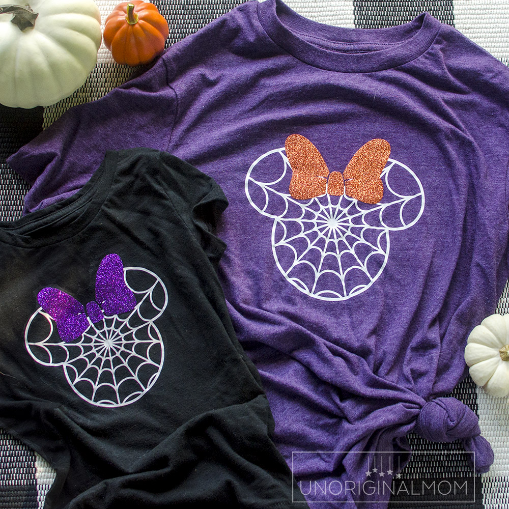 Make your own DIY Disney Halloween Shirt with this free Minnie spider web cut file! Free Disney Halloween SVG for Cricut and Silhouette.