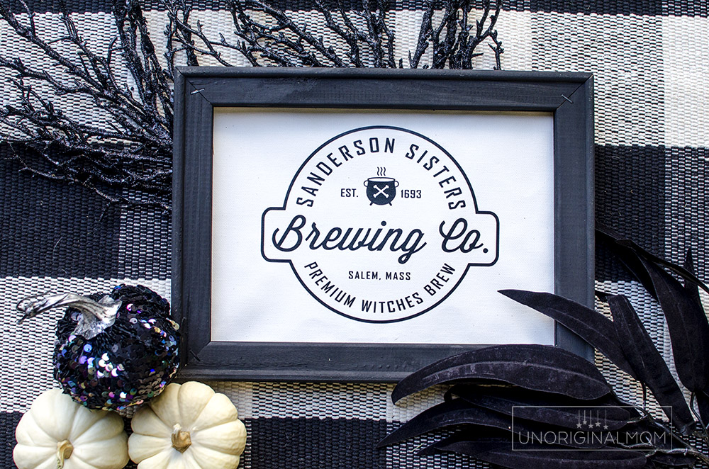 Use this Sanderson Sisters Brewing Co design to make a reverse canvas Halloween sign or a fun Hocus Pocus t-shirt! #svg #freecutfile #hocuspocus