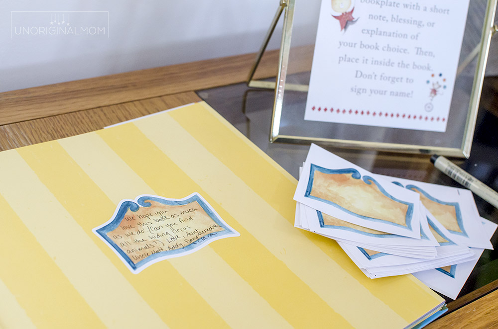 """Build a Library"" baby shower idea with custom print and cut book plate labels"