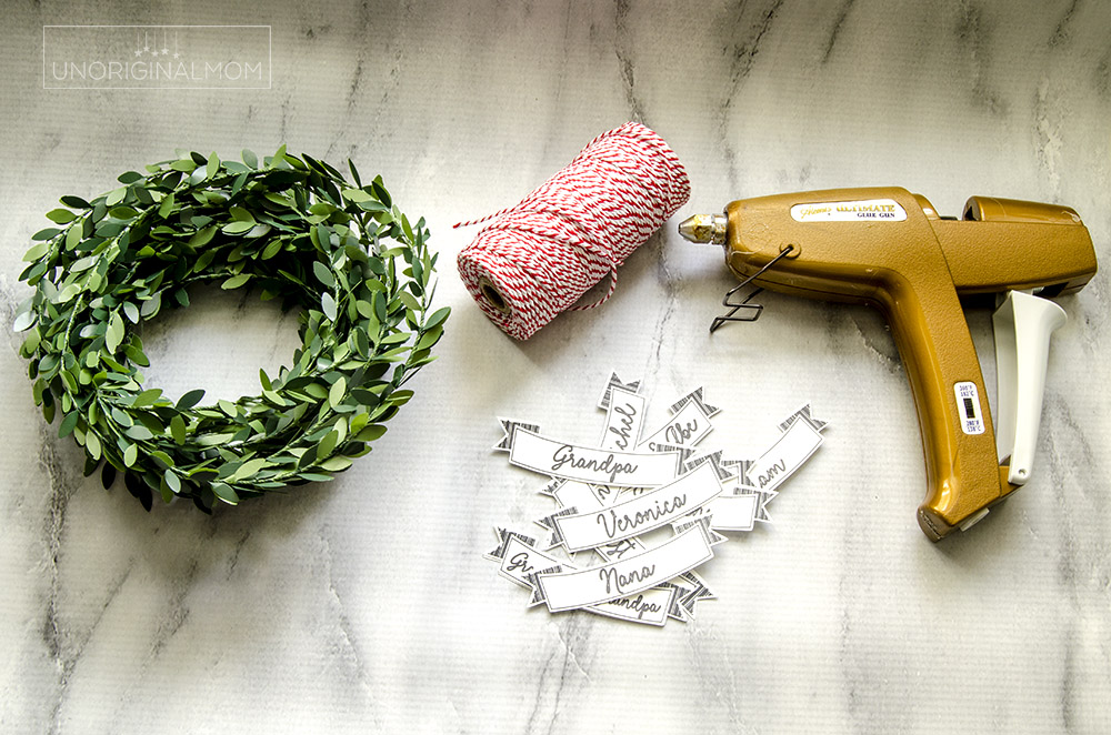 Supplies - Use your Silhouette to sketch and cut these simple DIY Mini wreath gift tags for Christmas!