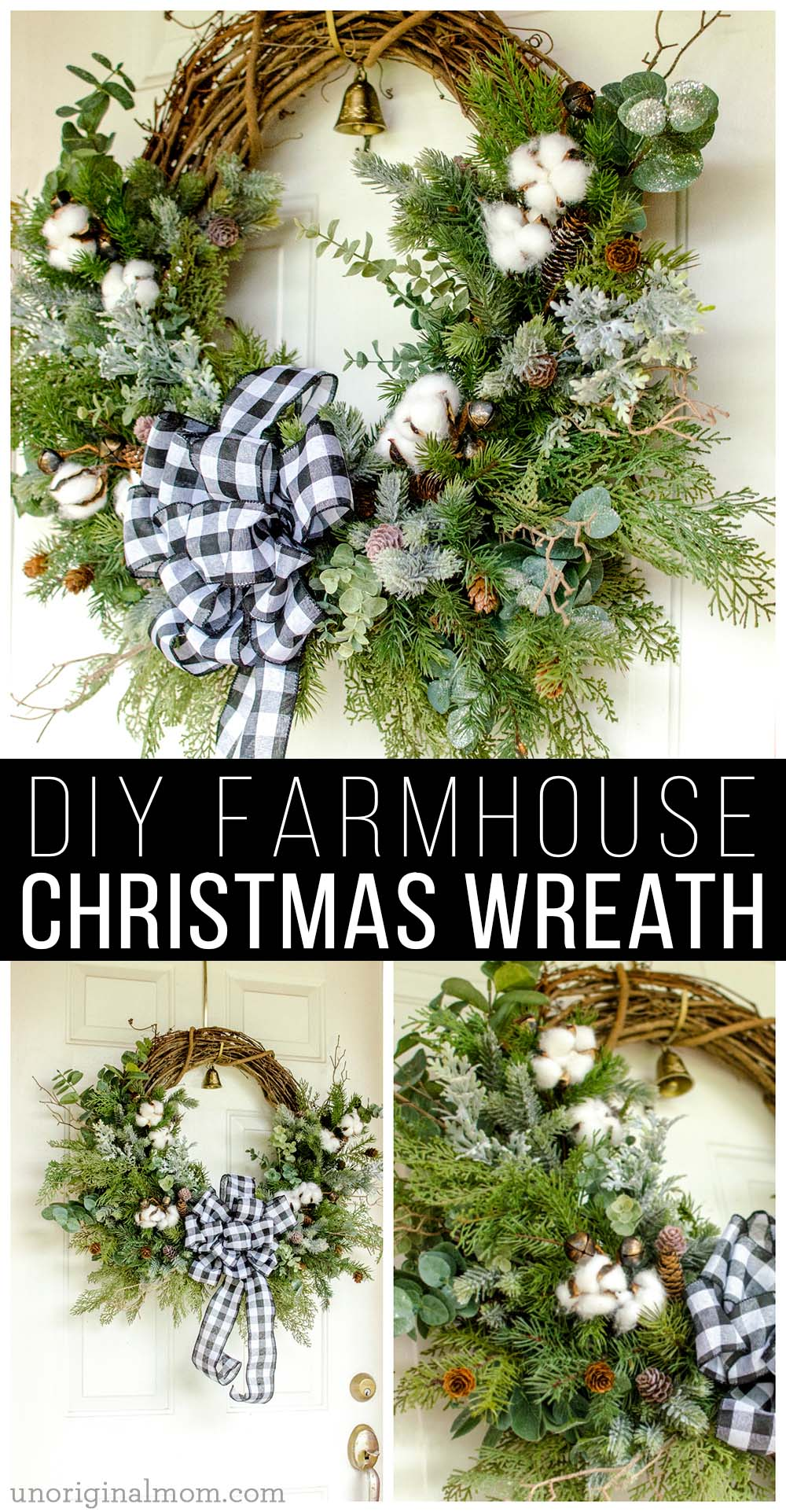 DIY Farmhouse Christmas Wreath - use a mix of evergreen faux florals with eucalyptus, cotton, and twigs to make a beautiful natural farmhouse christmas wreath!
