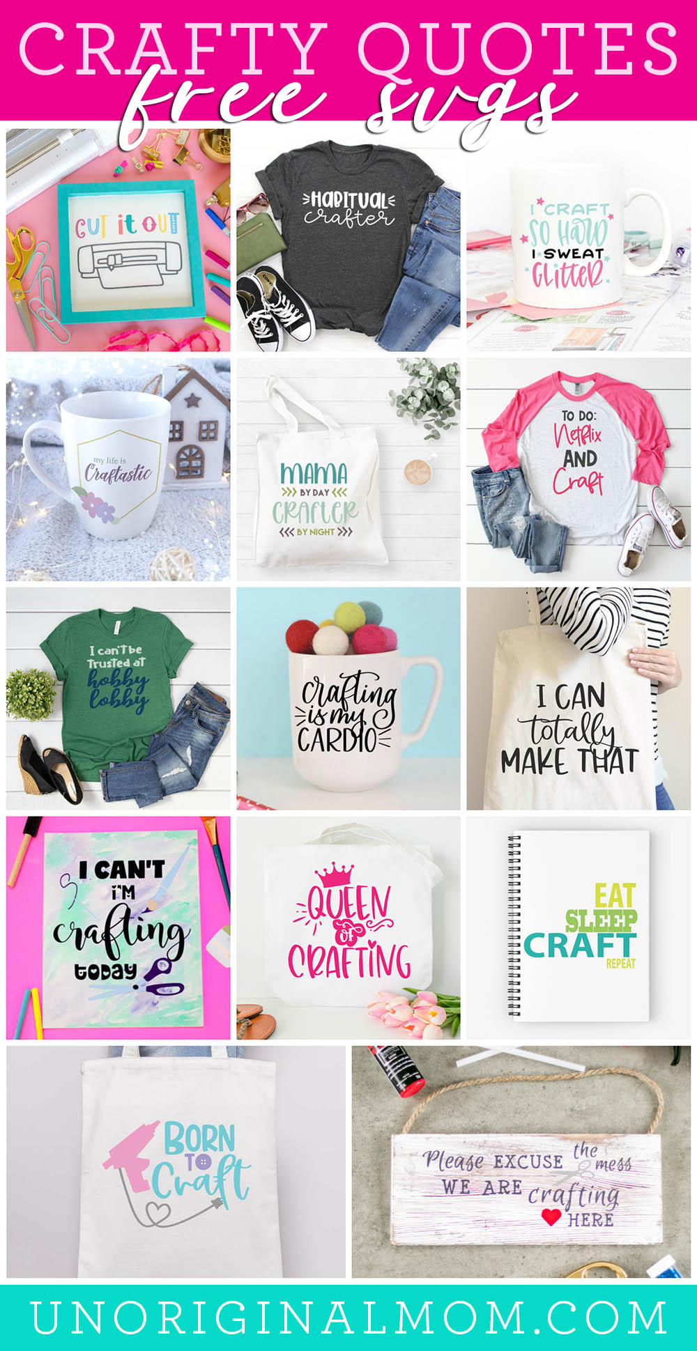 Free Craft Quote SVGs - love these project ideas to use with crafter life SVGs. Use with your Silhouette or Cricut! Perfect for crafters of all kinds.