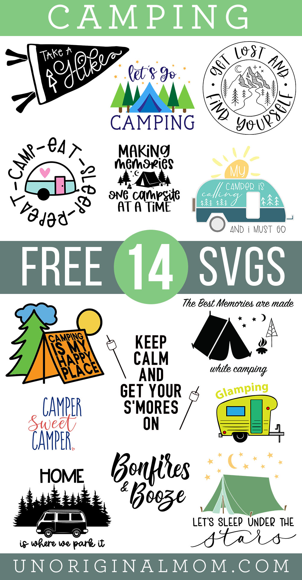 Terrific collection of 14 FREE camping SVGs for Silhouette and Cricut!