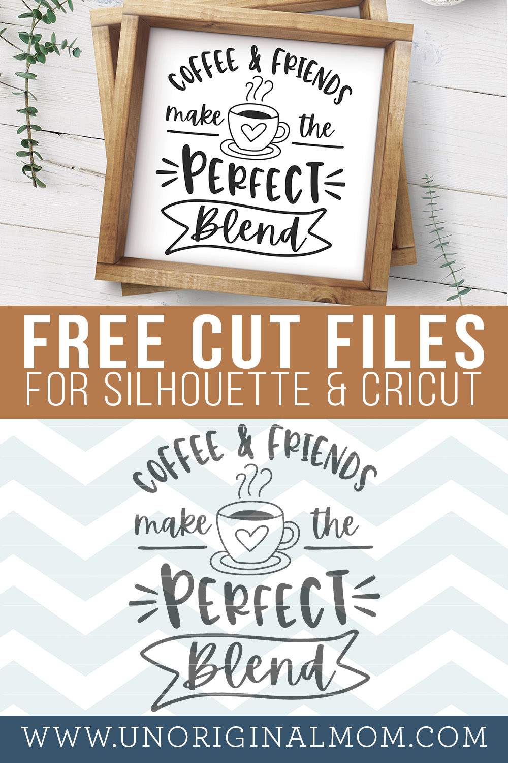 "14 Free Coffee SVGs, including this fun ""Coffee & Friends make the perfect blend"" design - great DIY gift for coffee lovers!"