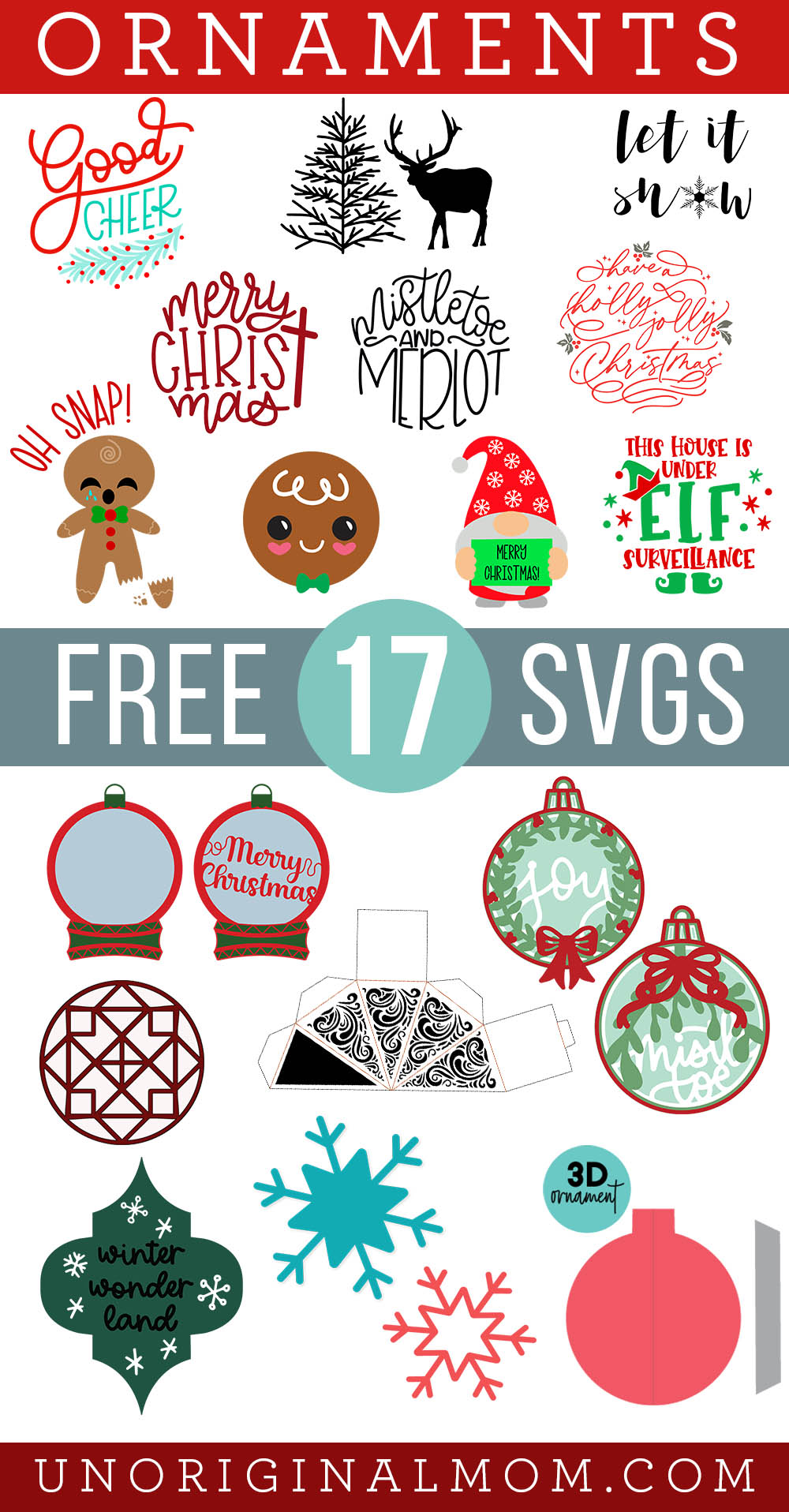 A collection of 17 free ornament SVGs for Christmas - perfect for vinyl wood slice ornaments with your Cricut or Silhouette!