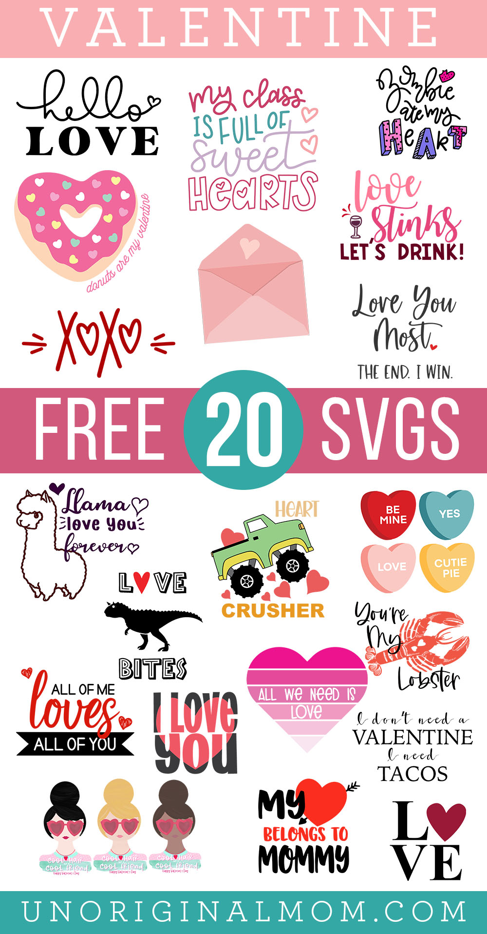 20 adorable free Valentine SVGs for Silhouette and Cricut! Great for making DIY Valentine's Day shirts.