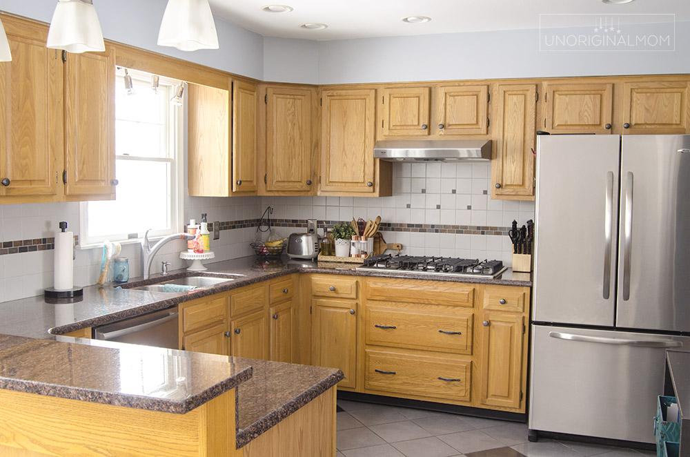 90s orange oak kitchen - before photos