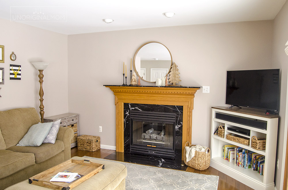 90s builder grade fireplace - before photos