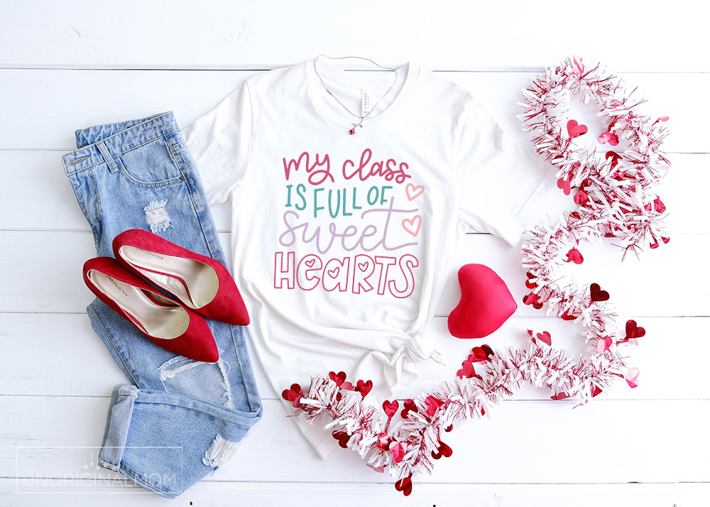 """Hand lettered """"My Class is Full of Sweethearts"""" SVG for Silhouette and Cricuts - perfect to make a DIY teacher Valentine's Day shirt!"""
