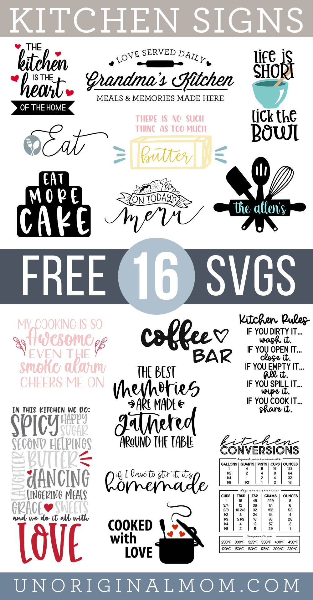 Free Kitchen SVGs to make kitchen signs with your Silhouette or Cricut!