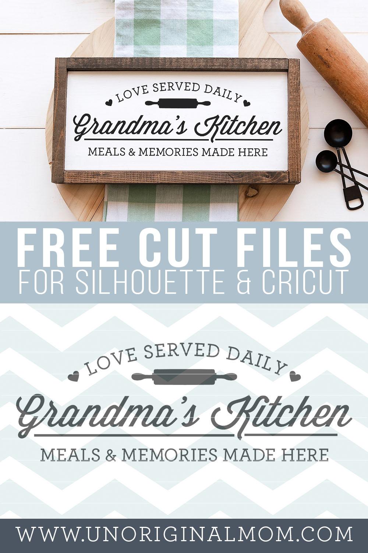 Grandma's Kitchen - DIY farmhouse style kitchen sign. Grab this free kitchen svg to make your own sign! #silhouette #cricut