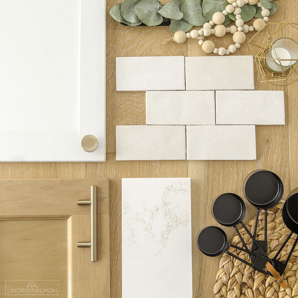 kitchen flatlay - Classic white and light wood kitchen design with gold accents