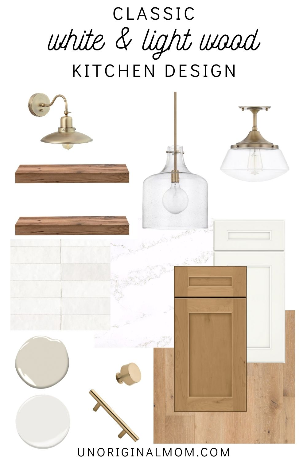 Classic white and light wood kitchen design with gold accents - timeless kitchen ideas