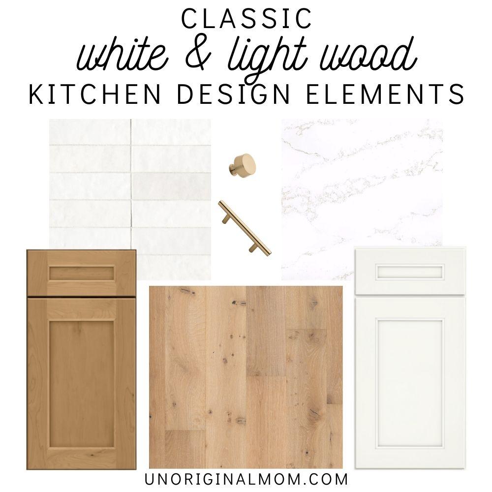 classic white and light wood kitchen design elements - cabinets, hardwood floors, quartz counters, backsplash, and hardware