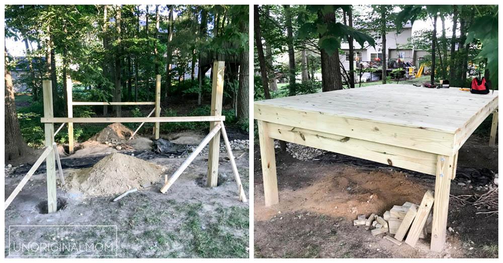DIY backyard playhouse with slide - raised deck platform