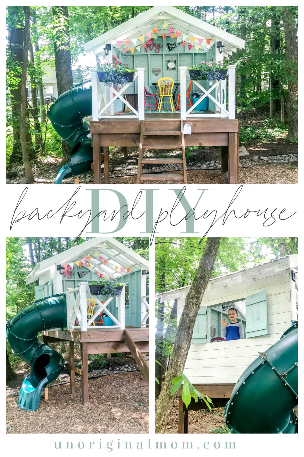 DIY Backyard Playhouse with Slide - this version of the Handmade Hideaway is a perfect raised playhouse for a sloped or wooded backyard!