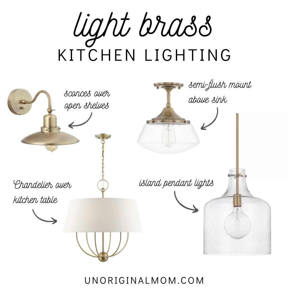 light brass kitchen lighting ideas - sconces, pendants, chandeliers, and semi flush mounts