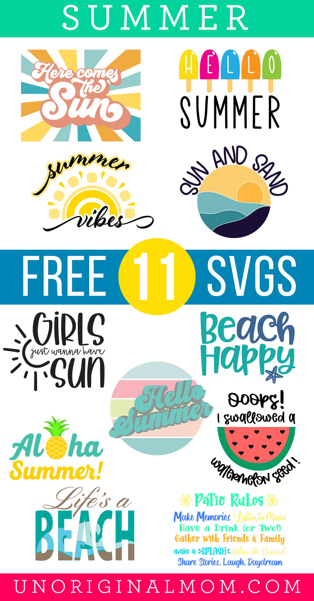 Free Summer SVGs for your Silhouette or Cricut - perfect for summer tees and tanks, beach bags, summer decor, and more!