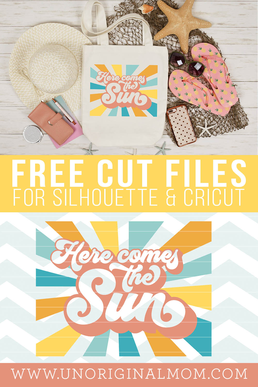 Free Summer SVG: Here Comes the Sun retro typography cut file for Silhouette and Cricut