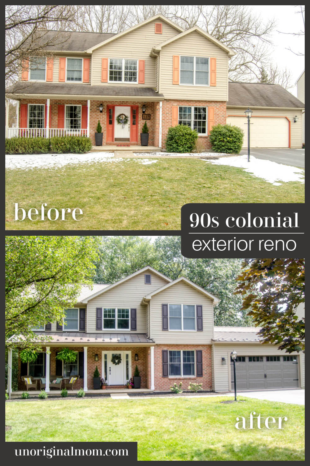 90s colonial exterior renovation before and after - garage extension with standing seam steel roof accents
