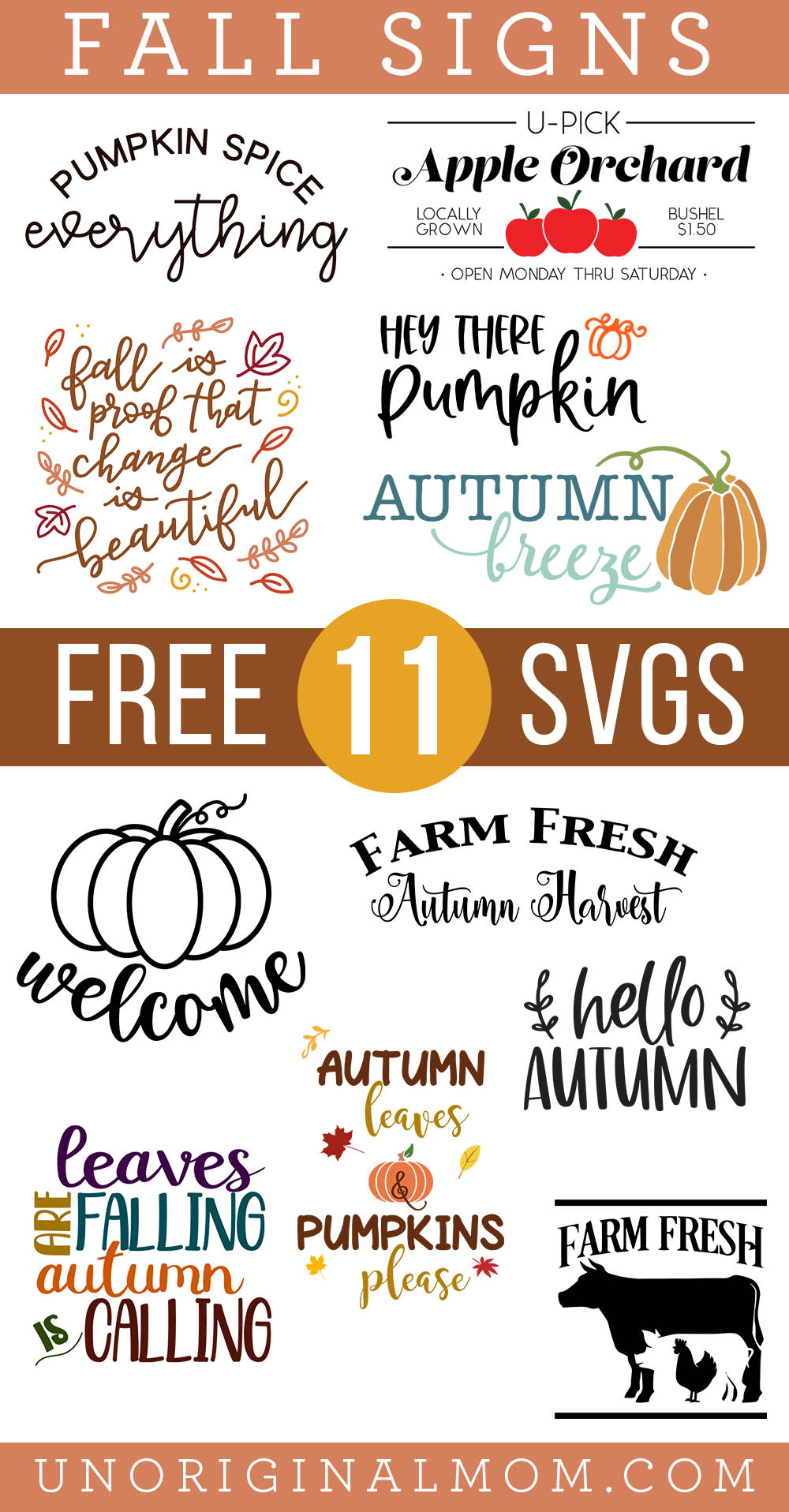 Free Fall Sign SVGs for Cricut and Silhouette - a collection of 11 free SVGs for fall farmhouse signs