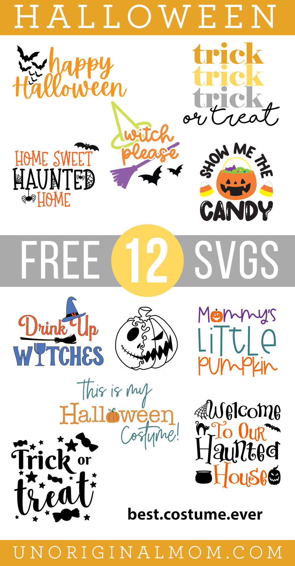 Free Halloween SVGs for Cricut and Silhouette, perfect for DIY Halloween tshirts and tote bags!
