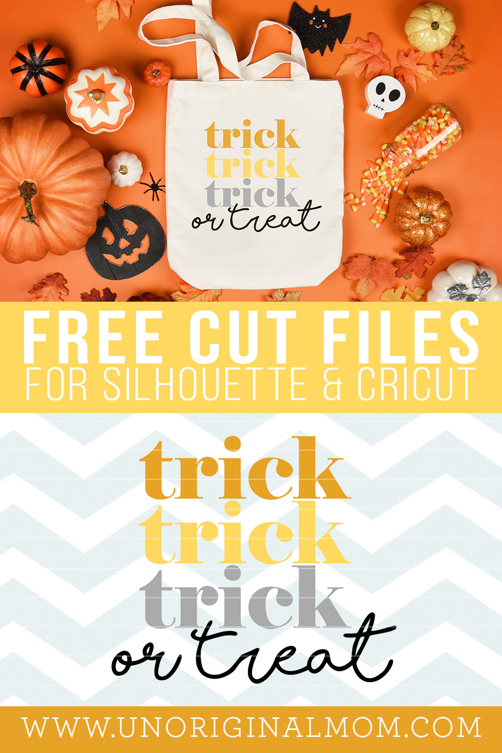 Free Trick or Treat SVG for Cricut and Silhouette! Love this retro typography look for a DIY Halloween tshirt or tote bag.